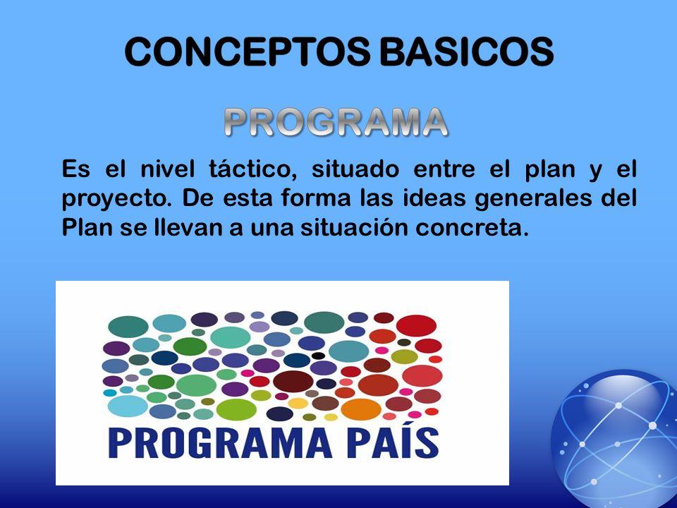 Es el nivel táctico, situado entre el plan y el proyecto. De esta forma las ideas generales del Plan se llevan a una situación concreta.