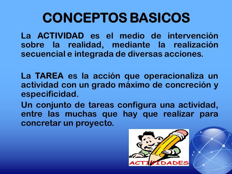 La ACTIVIDAD es el medio de intervención sobre la realidad, mediante la realización secuencial e integrada de diversas acciones. La TAREA es la acción
