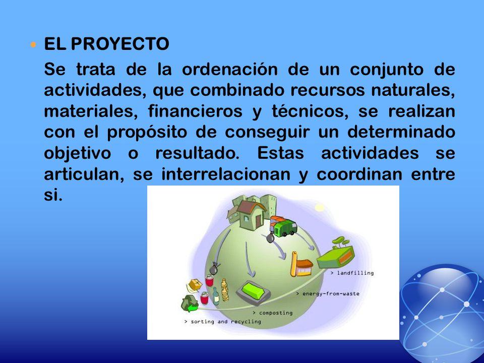 EL PROYECTO Se trata de la ordenación de un conjunto de actividades, que combinado recursos naturales, materiales, financieros y técnicos, se realizan