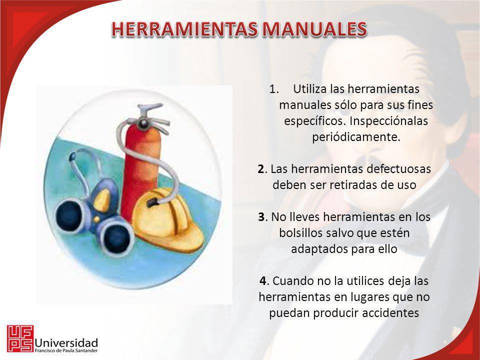 1.Utiliza las herramientas manuales sólo para sus fines específicos. Inspecciónalas periódicamente. 2. Las herramientas defectuosas deben ser retirada