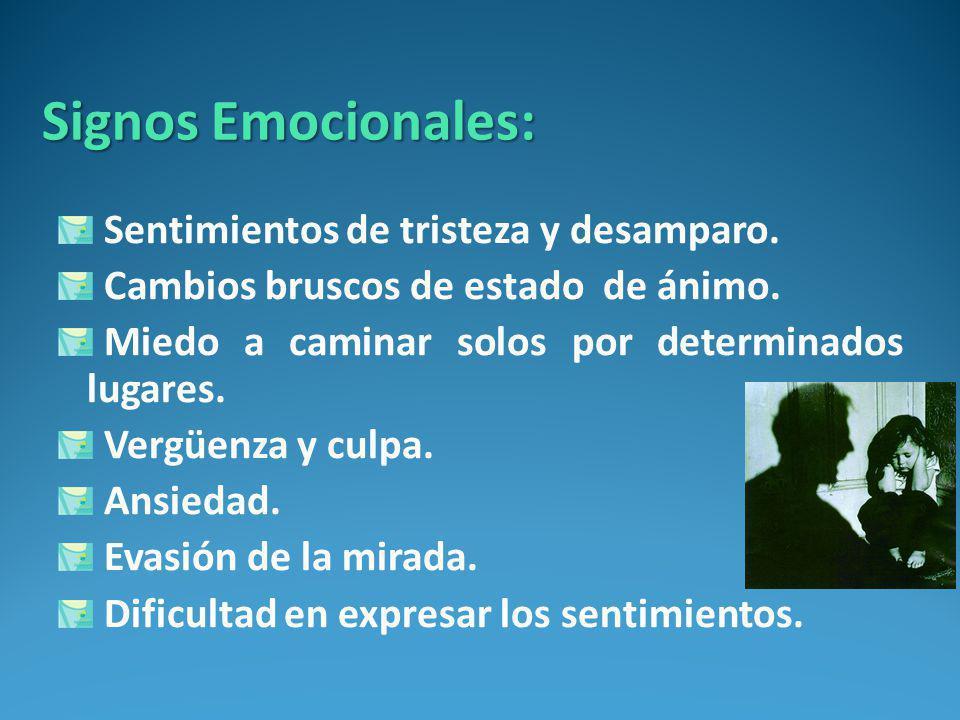 Signos Emocionales: Sentimientos de tristeza y desamparo.
