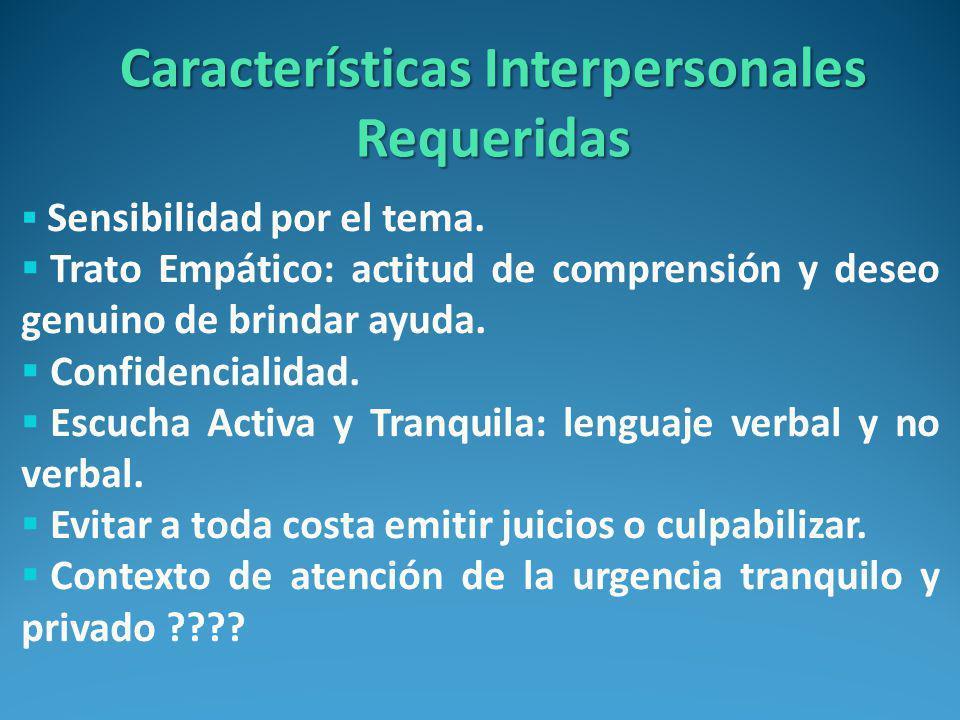 Características Interpersonales Requeridas Sensibilidad por el tema.