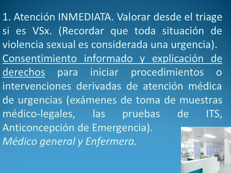 1.Atención INMEDIATA. Valorar desde el triage si es VSx.