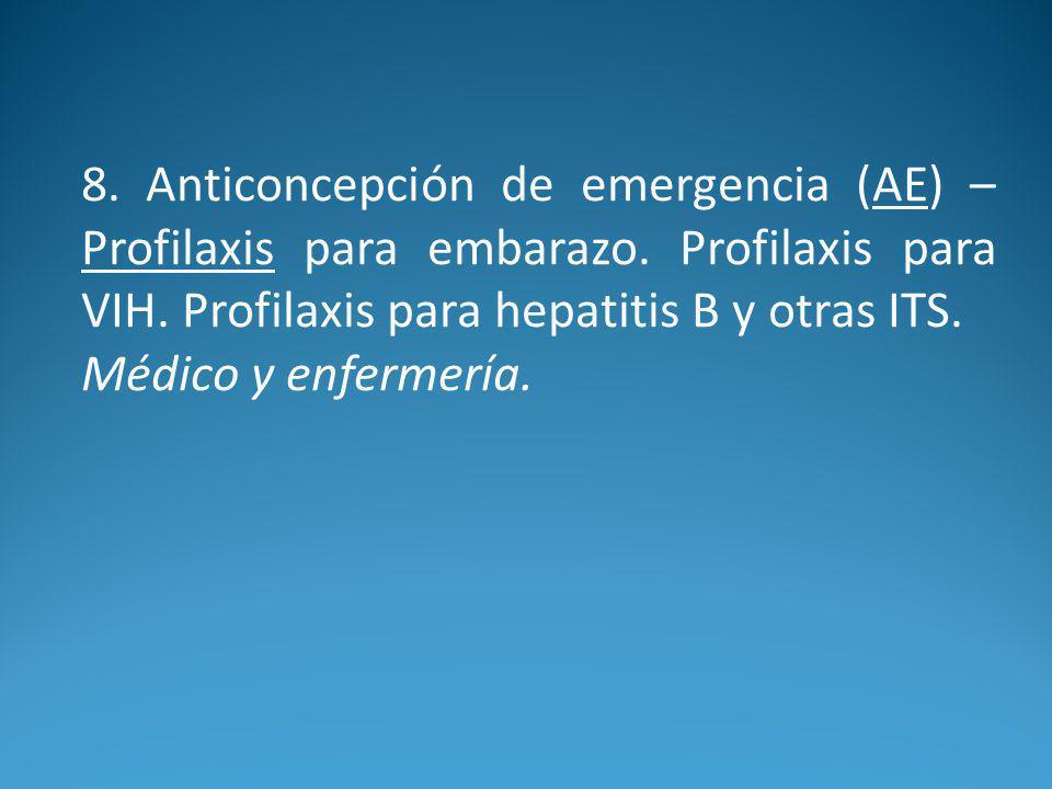 8.Anticoncepción de emergencia (AE) – Profilaxis para embarazo.