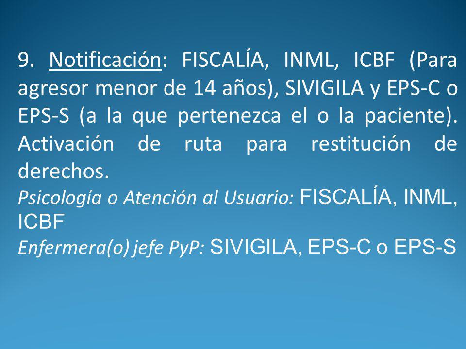 9. Notificación: FISCALÍA, INML, ICBF (Para agresor menor de 14 años), SIVIGILA y EPS-C o EPS-S (a la que pertenezca el o la paciente). Activación de