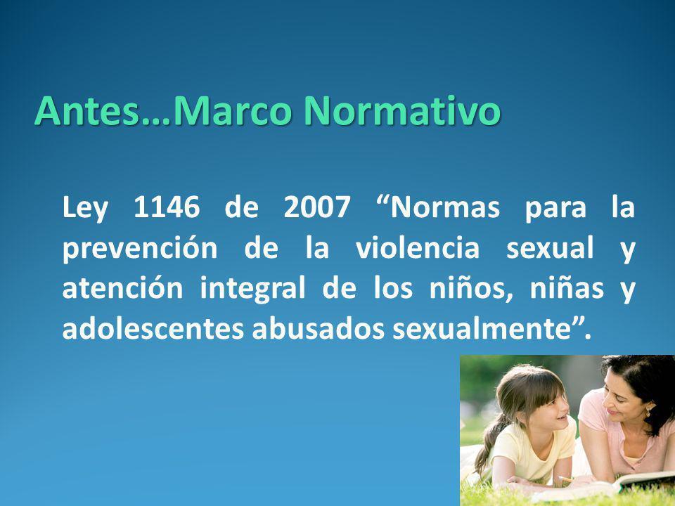 Antes…Marco Normativo Ley 1146 de 2007 Normas para la prevención de la violencia sexual y atención integral de los niños, niñas y adolescentes abusados sexualmente.