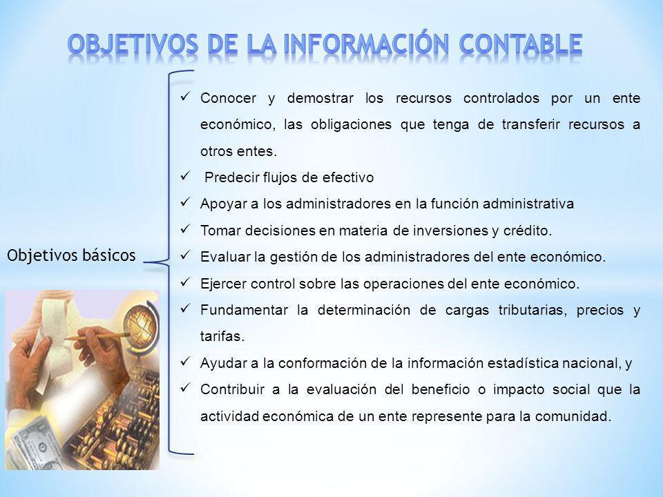 Objetivos básicos Conocer y demostrar los recursos controlados por un ente económico, las obligaciones que tenga de transferir recursos a otros entes.