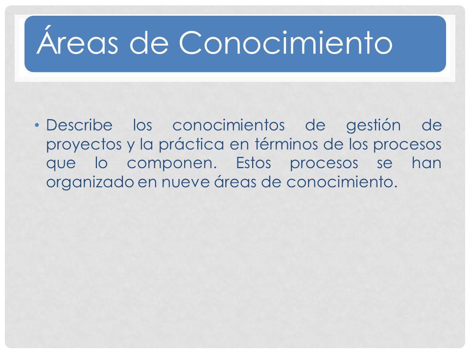 Áreas de Conocimiento Describe los conocimientos de gestión de proyectos y la práctica en términos de los procesos que lo componen.