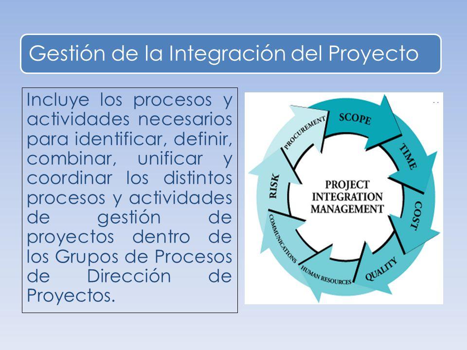 Gestión de la Integración del Proyecto Incluye los procesos y actividades necesarios para identificar, definir, combinar, unificar y coordinar los distintos procesos y actividades de gestión de proyectos dentro de los Grupos de Procesos de Dirección de Proyectos.