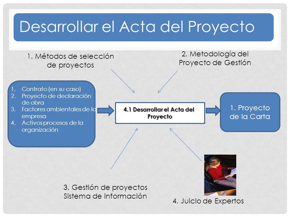 1.Contrato (en su caso) 2.Proyecto de declaración de obra 3.Factores ambientales de la empresa 4.Activos procesos de la organización 4 4.1 Desarrollar el Acta del Proyecto 3.