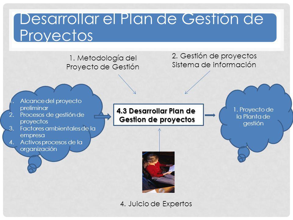 1.Alcance del proyecto preliminar 2.Procesos de gestión de proyectos 3.Factores ambientales de la empresa 4.Activos procesos de la organización 1.