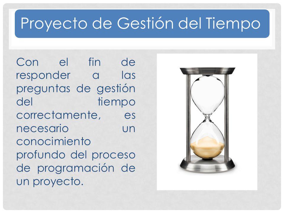 Proyecto de Gestión del Tiempo Con el fin de responder a las preguntas de gestión del tiempo correctamente, es necesario un conocimiento profundo del proceso de programación de un proyecto.