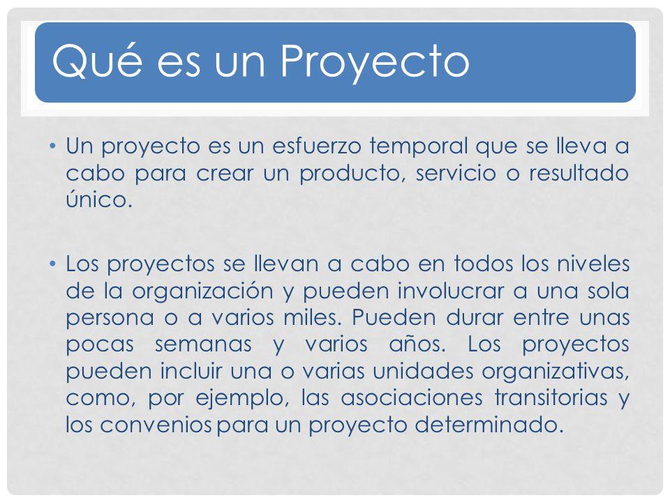 Es Temporal Productos, Servicios o resultados únicos Elaboración gradual Características de un Proyecto