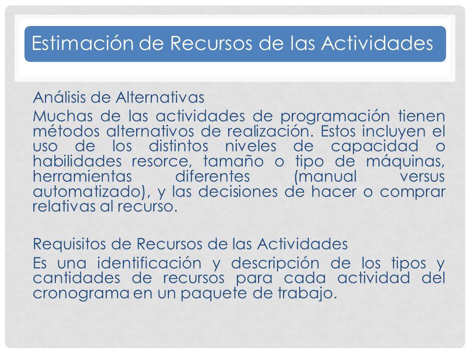 Estimación de Recursos de las Actividades Análisis de Alternativas Muchas de las actividades de programación tienen métodos alternativos de realización.