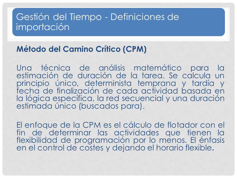 Gestión del Tiempo - Definiciones de importación Método del Camino Crítico (CPM) Una técnica de análisis matemático para la estimación de duración de la tarea.