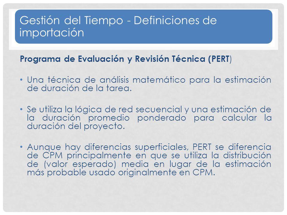 Gestión del Tiempo - Definiciones de importación Programa de Evaluación y Revisión Técnica (PERT ) Una técnica de análisis matemático para la estimación de duración de la tarea.