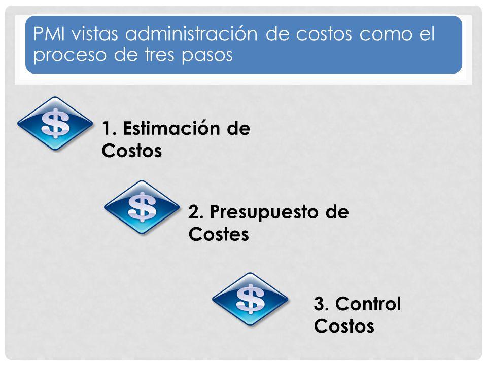 PMI vistas administración de costos como el proceso de tres pasos 1.