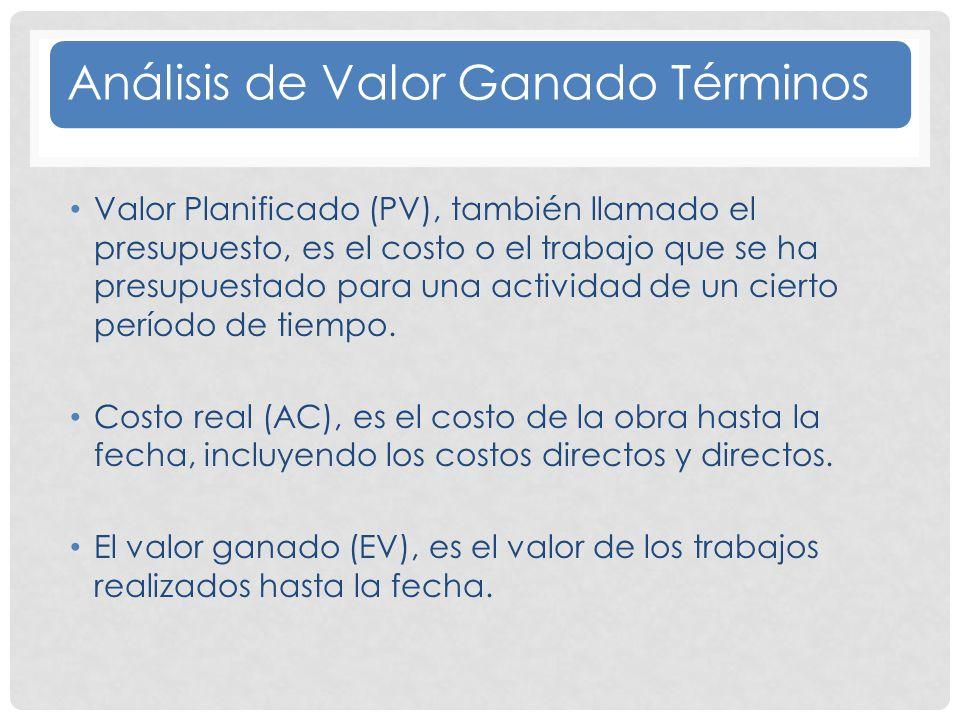Análisis de Valor Ganado Términos Valor Planificado (PV), también llamado el presupuesto, es el costo o el trabajo que se ha presupuestado para una actividad de un cierto período de tiempo.