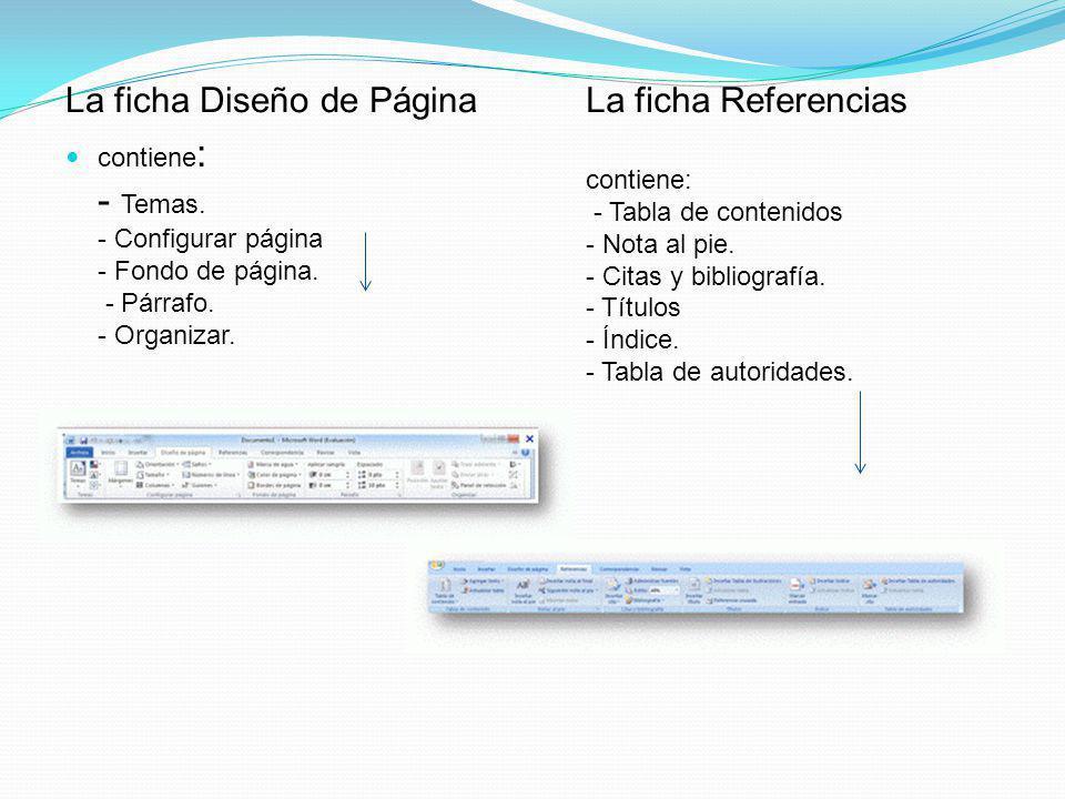 La ficha Diseño de Página contiene : - Temas.- Configurar página - Fondo de página.