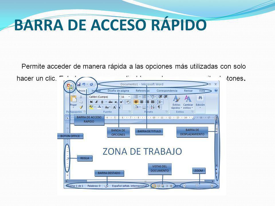 BARRA DE ACCESO RÁPIDO Permite acceder de manera rápida a las opciones más utilizadas con solo hacer un clic.