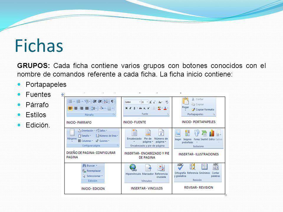 Fichas GRUPOS: Cada ficha contiene varios grupos con botones conocidos con el nombre de comandos referente a cada ficha.