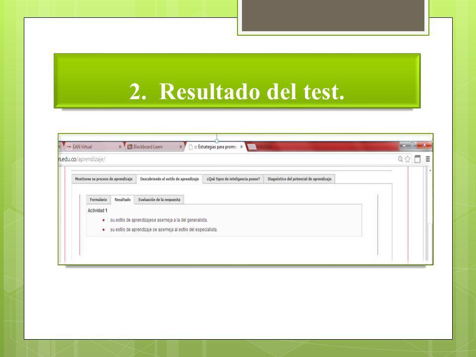 2. Resultado del test.