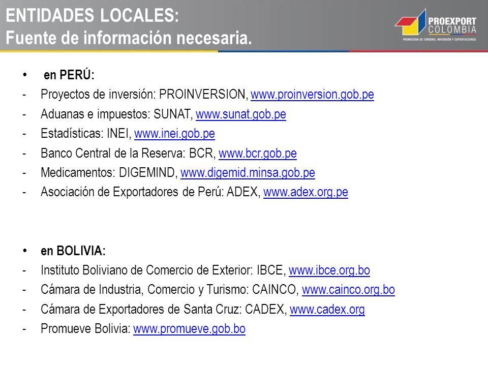 CONCLUSIONES: Colombia es socio natural de Perú y de Bolivia Apóyese en Proexport en las regiones y en el mundo, para validar sus socios comerciales y aprovechar todas las oportunidades que se presenten.