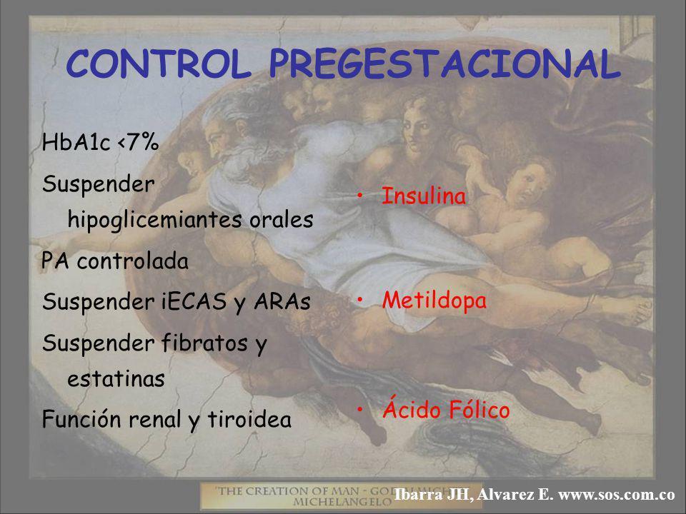 CONTROL PREGESTACIONAL HbA1c <7% Suspender hipoglicemiantes orales PA controlada Suspender iECAS y ARAs Suspender fibratos y estatinas Función renal y tiroidea Insulina Metildopa Ácido Fólico Ibarra JH, Alvarez E.