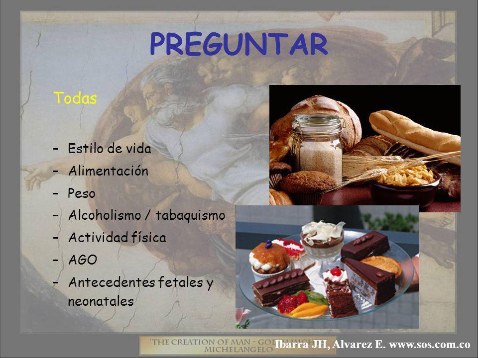 PREGUNTAR Todas –Estilo de vida –Alimentación –Peso –Alcoholismo / tabaquismo –Actividad física –AGO –Antecedentes fetales y neonatales Ibarra JH, Alvarez E.