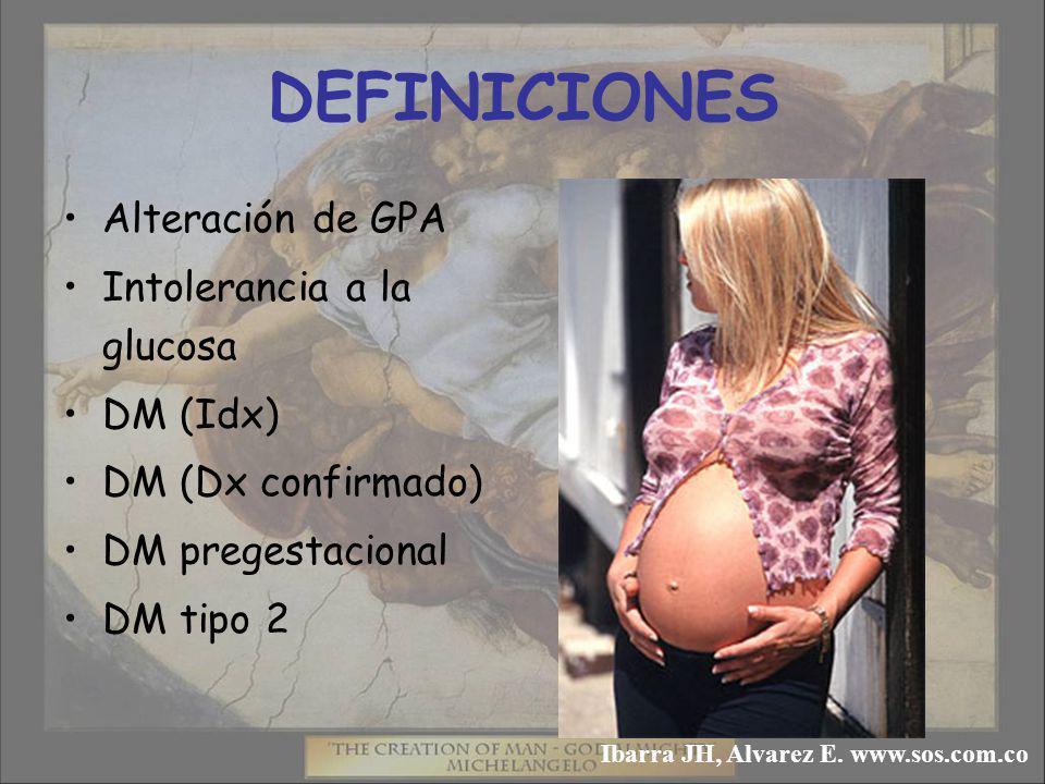 DEFINICIONES Alteración de GPA Intolerancia a la glucosa DM (Idx) DM (Dx confirmado) DM pregestacional DM tipo 2 Ibarra JH, Alvarez E.