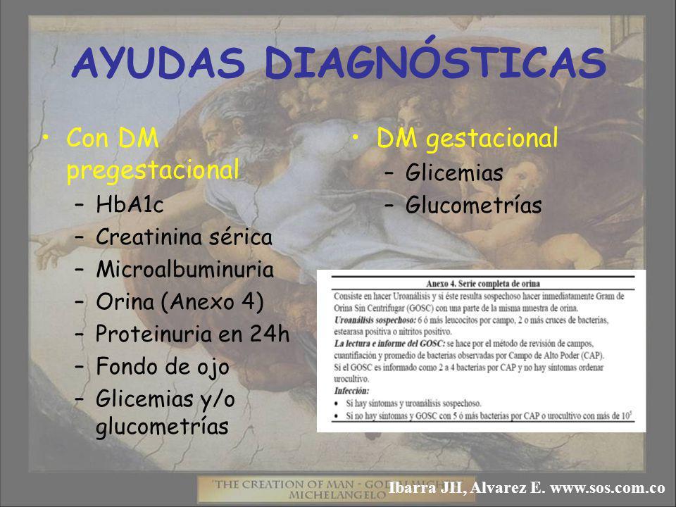 AYUDAS DIAGNÓSTICAS Con DM pregestacional –HbA1c –Creatinina sérica –Microalbuminuria –Orina (Anexo 4) –Proteinuria en 24h –Fondo de ojo –Glicemias y/