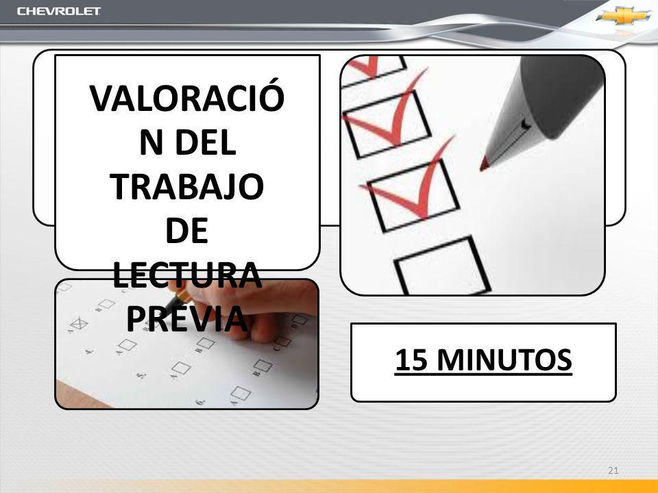 15 MINUTOS VALORACIÓ N DEL TRABAJO DE LECTURA PREVIA 21