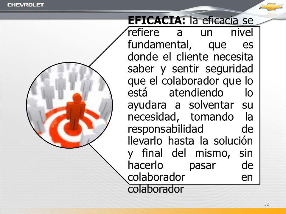 EFICACIA: la eficacia se refiere a un nivel fundamental, que es donde el cliente necesita saber y sentir seguridad que el colaborador que lo está aten