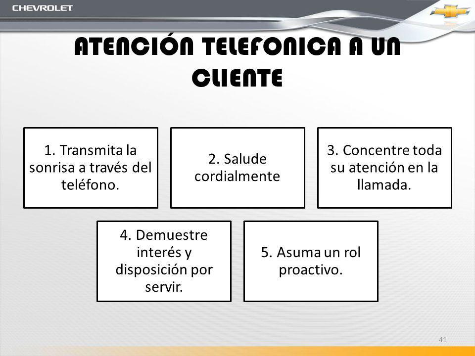 ATENCIÓN TELEFONICA A UN CLIENTE 1. Transmita la sonrisa a través del teléfono. 2. Salude cordialmente 3. Concentre toda su atención en la llamada. 4.