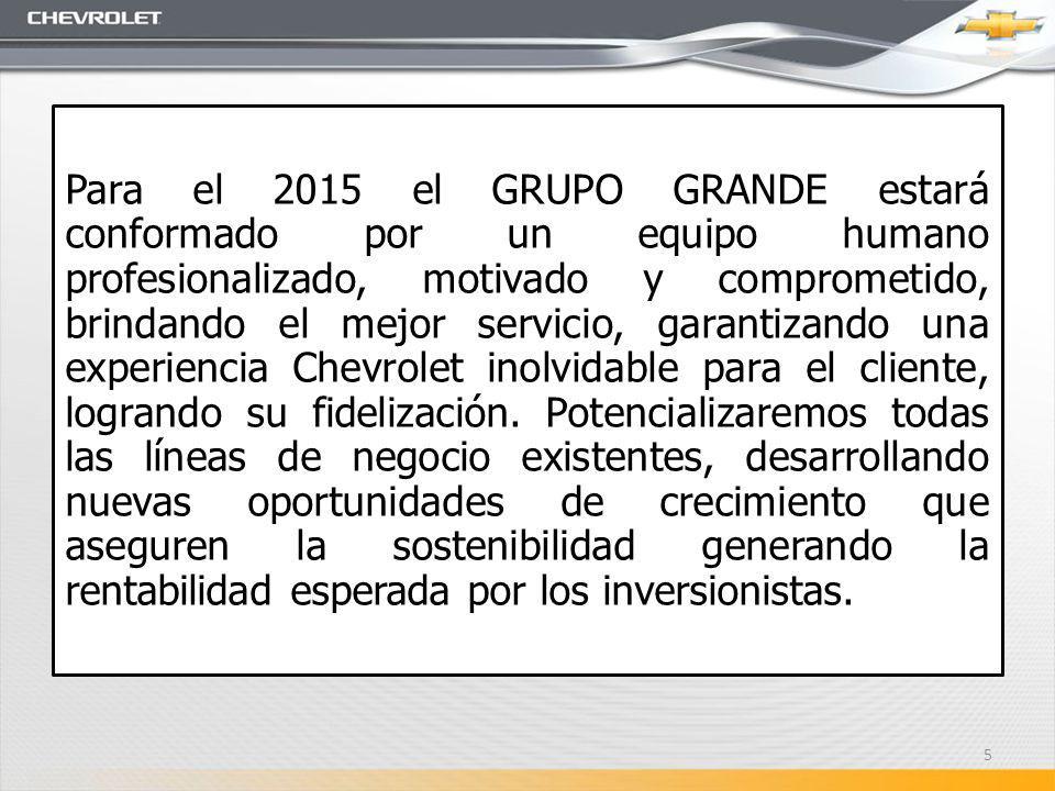 Para el 2015 el GRUPO GRANDE estará conformado por un equipo humano profesionalizado, motivado y comprometido, brindando el mejor servicio, garantizando una experiencia Chevrolet inolvidable para el cliente, logrando su fidelización.