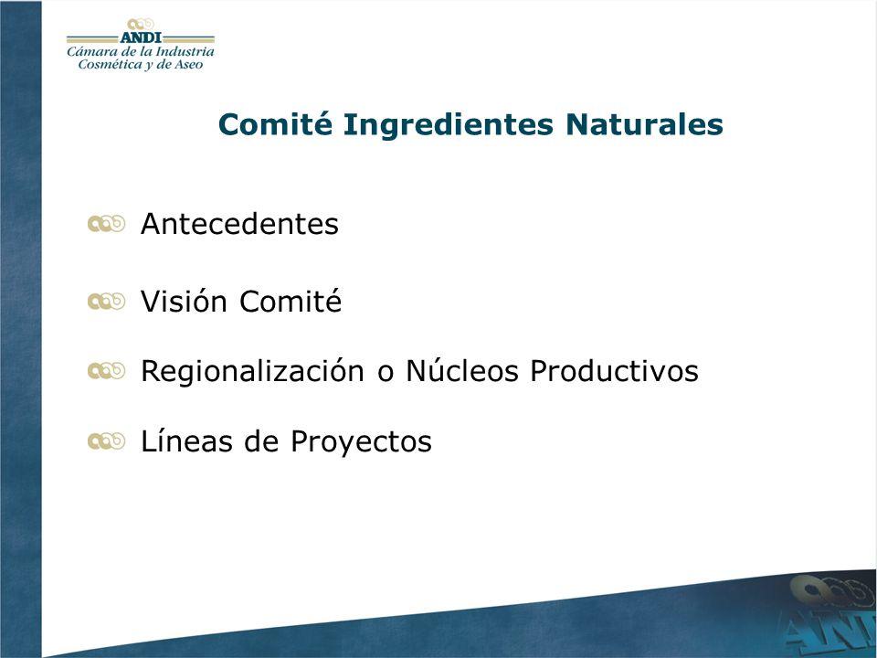 Comité Ingredientes Naturales Antecedentes Visión Comité Regionalización o Núcleos Productivos Líneas de Proyectos