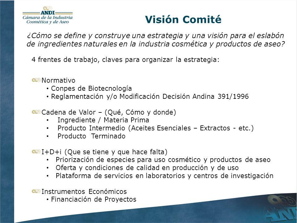 Visión Comité 4 frentes de trabajo, claves para organizar la estrategia: Normativo Conpes de Biotecnología Reglamentación y/o Modificación Decisión An