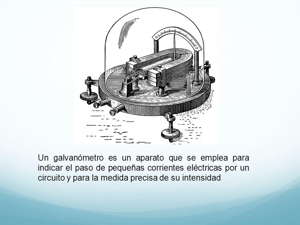 Un galvanómetro es un aparato que se emplea para indicar el paso de pequeñas corrientes eléctricas por un circuito y para la medida precisa de su intensidad
