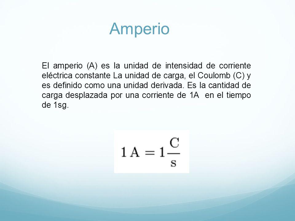 Amperio El amperio (A) es la unidad de intensidad de corriente eléctrica constante La unidad de carga, el Coulomb (C) y es definido como una unidad derivada.