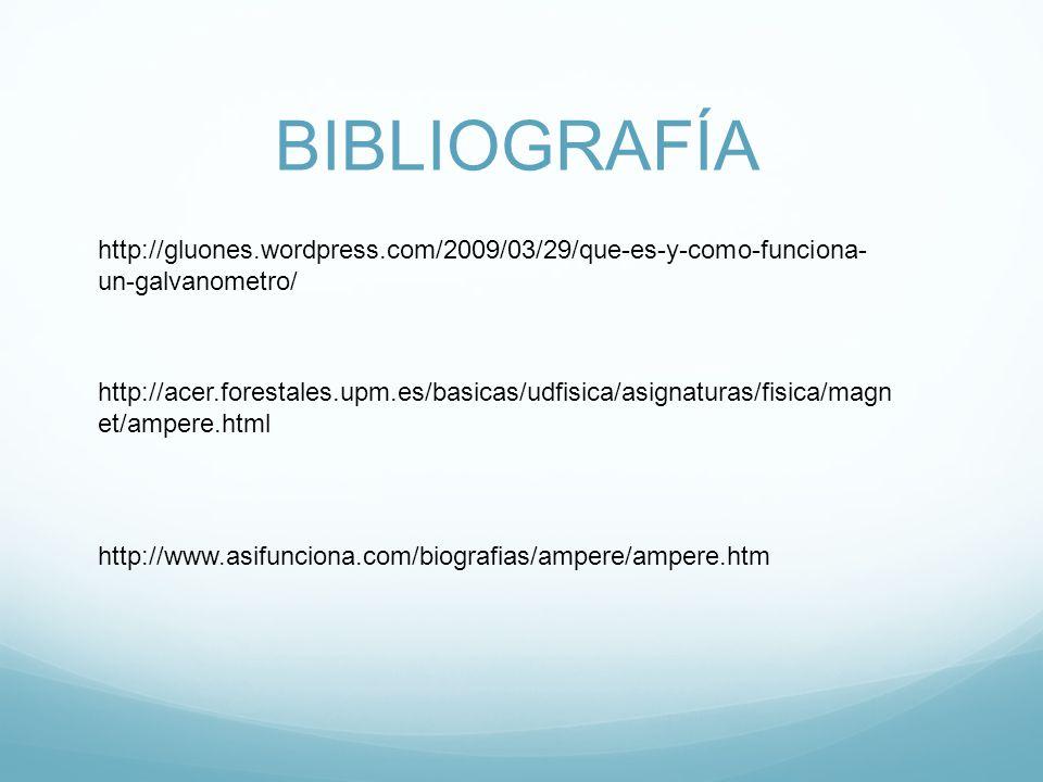 BIBLIOGRAFÍA http://gluones.wordpress.com/2009/03/29/que-es-y-como-funciona- un-galvanometro/ http://acer.forestales.upm.es/basicas/udfisica/asignaturas/fisica/magn et/ampere.html http://www.asifunciona.com/biografias/ampere/ampere.htm