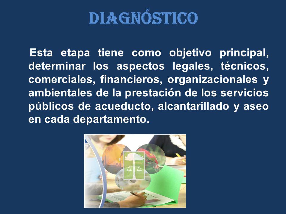 Diagnóstico Esta etapa tiene como objetivo principal, determinar los aspectos legales, técnicos, comerciales, financieros, organizacionales y ambientales de la prestación de los servicios públicos de acueducto, alcantarillado y aseo en cada departamento.