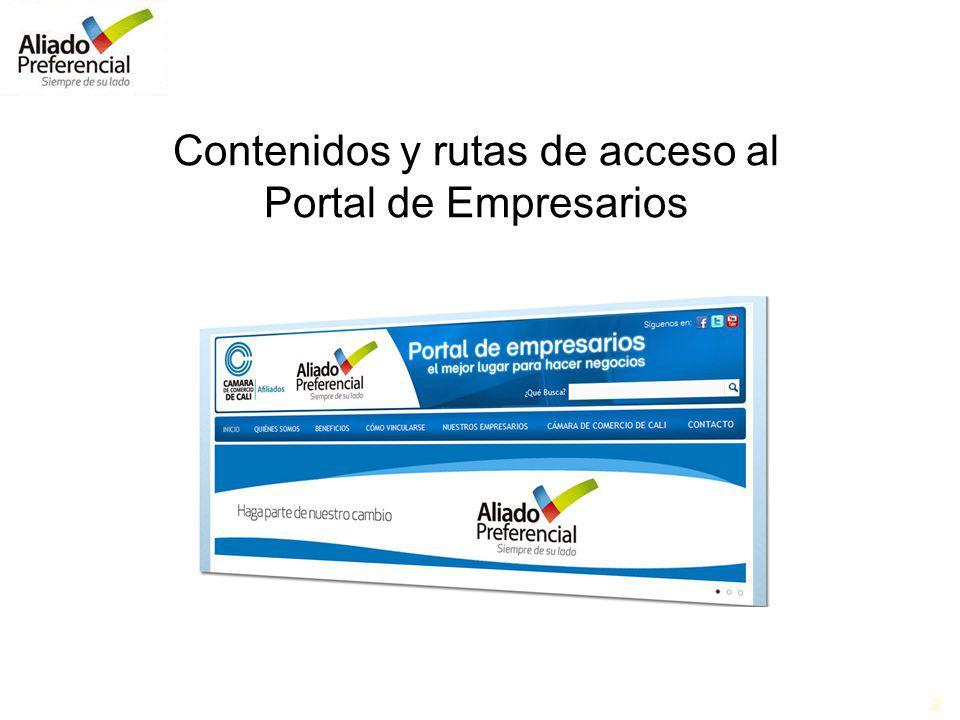 2 Contenidos y rutas de acceso al Portal de Empresarios