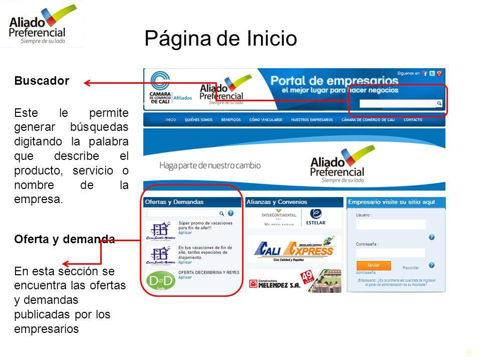 5 Buscador Este le permite generar búsquedas digitando la palabra que describe el producto, servicio o nombre de la empresa.
