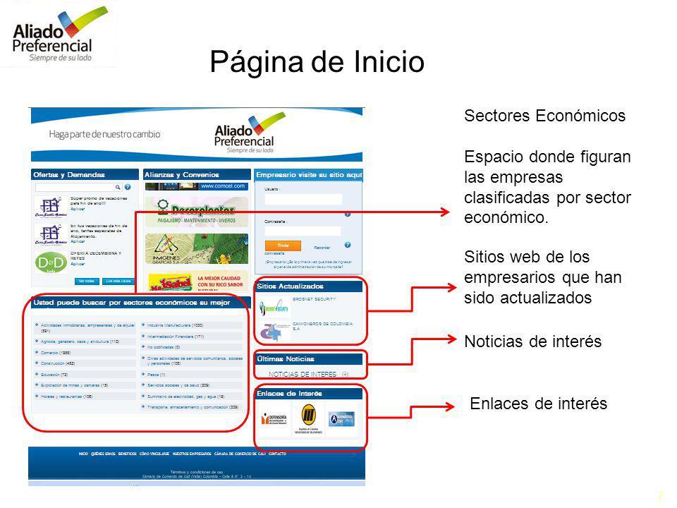 7 Sectores Económicos Espacio donde figuran las empresas clasificadas por sector económico. Sitios web de los empresarios que han sido actualizados No