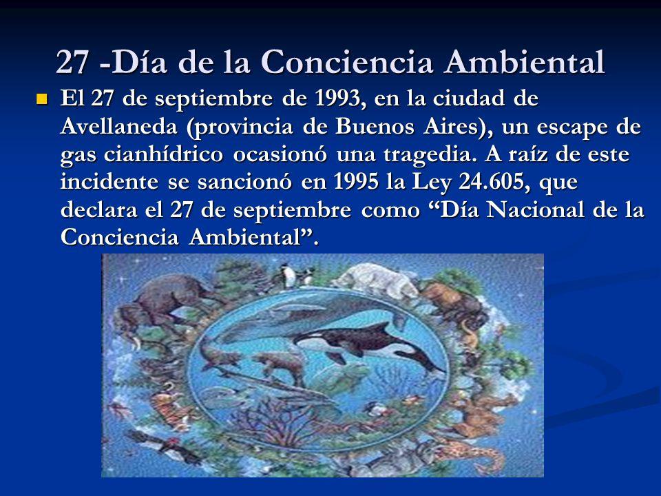 27 -Día de la Conciencia Ambiental El 27 de septiembre de 1993, en la ciudad de Avellaneda (provincia de Buenos Aires), un escape de gas cianhídrico o