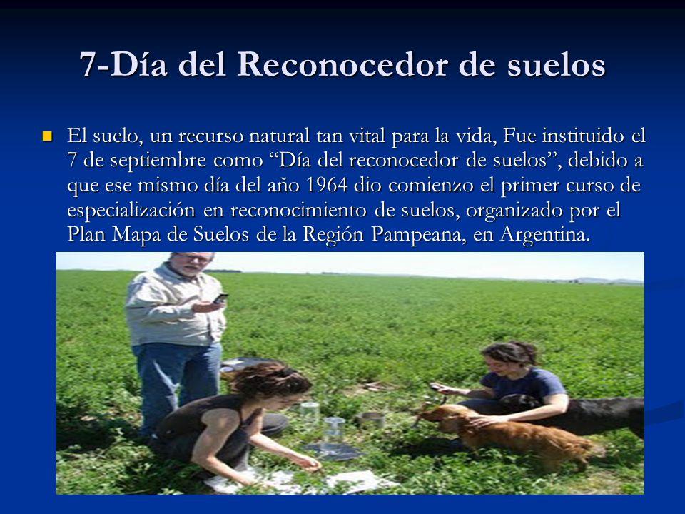 7-Día del Reconocedor de suelos El suelo, un recurso natural tan vital para la vida, Fue instituido el 7 de septiembre como Día del reconocedor de sue
