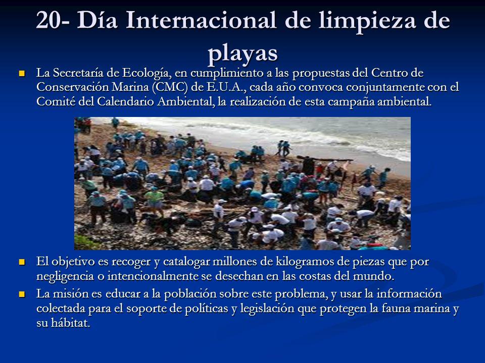 20- Día Internacional de limpieza de playas La Secretaría de Ecología, en cumplimiento a las propuestas del Centro de Conservación Marina (CMC) de E.U
