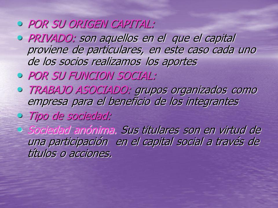 POR SU ORIGEN CAPITAL: POR SU ORIGEN CAPITAL: PRIVADO: son aquellos en el que el capital proviene de particulares, en este caso cada uno de los socios realizamos los aportes PRIVADO: son aquellos en el que el capital proviene de particulares, en este caso cada uno de los socios realizamos los aportes POR SU FUNCION SOCIAL: POR SU FUNCION SOCIAL: TRABAJO ASOCIADO: grupos organizados como empresa para el beneficio de los integrantes TRABAJO ASOCIADO: grupos organizados como empresa para el beneficio de los integrantes Tipo de sociedad: Tipo de sociedad: Sociedad anónima.