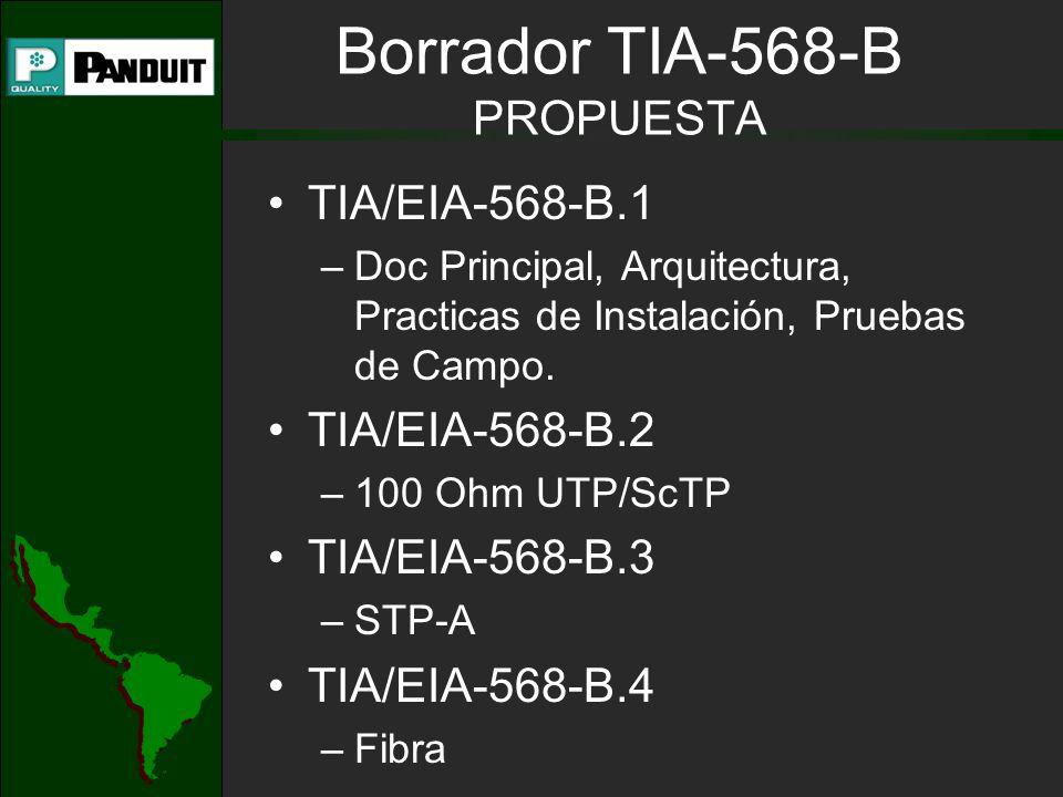 Borrador TIA-568-B PROPUESTA TIA/EIA-568-B.1 –Doc Principal, Arquitectura, Practicas de Instalación, Pruebas de Campo. TIA/EIA-568-B.2 –100 Ohm UTP/Sc