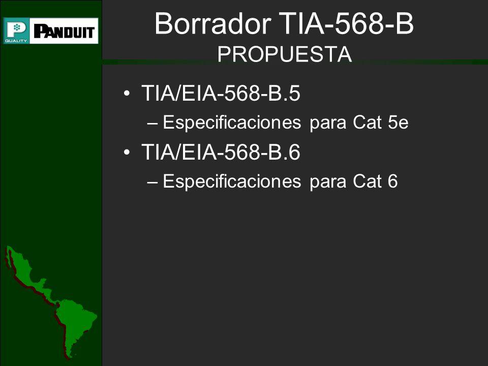 Borrador TIA-568-B PROPUESTA TIA/EIA-568-B.5 –Especificaciones para Cat 5e TIA/EIA-568-B.6 –Especificaciones para Cat 6